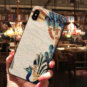 Cas de téléphone de TPU de peinture de soulagement de paon de palais