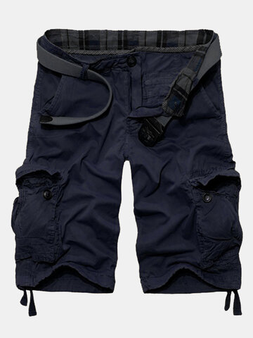 Charmkpr Casual Vintage Multi-Pocket Loose Plus Size Cargo Shorts For Men