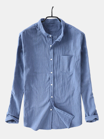 Mens Casual Slim Striped Stand Collar Shirts