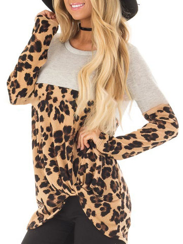 Casual Leopard Print Blouse, As picture shows