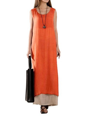 Vintage Loose Solid Layered Women Maxi Dresses