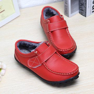 Fur Lining Hook Loop Leather Boots, White black red khaki orange