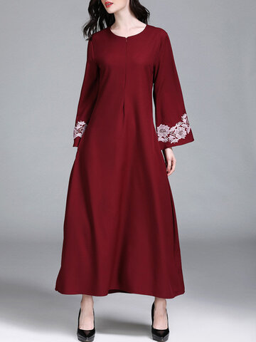 Solid Color Floral Bell Sleeve O-neck Maxi Dress, Red grey