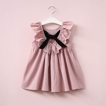 Bowknot Ruffles Girls Dress For 2-9Y