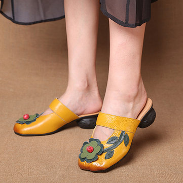 Leather Flowers Square Closed Toe Slippers