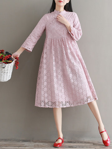 Vintage Stand Collar Long Sleeve Lace Dresses
