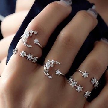 Moon Star Rhinestones Ring Set