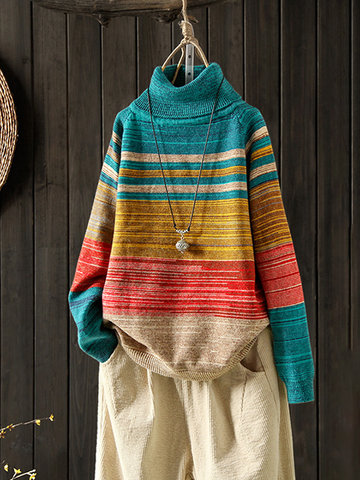 605f769077 Rainbow Striped Autumn Winter Pullover Sweater