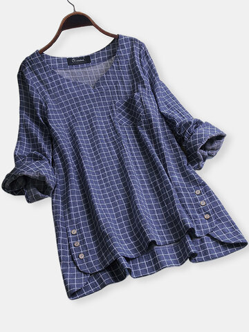 Plaid Irregular Hem Blouse