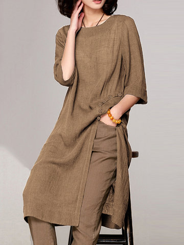 Vintage Button Side Slit T-Shirt