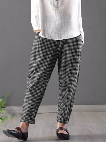 Vintage Plaid Elastic Waist Pants