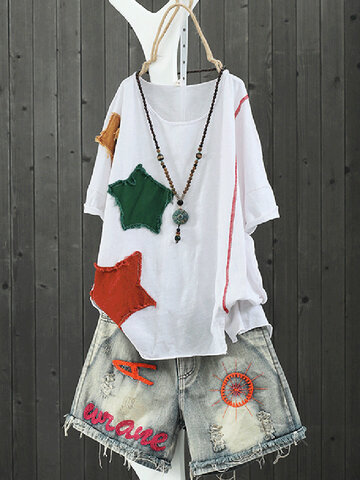 Star Patchwork Pullover T-Shirt