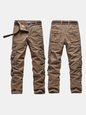 Mens Casual Cargo Pants Relaxed Fit Solid Color Multi-pockets Outdoor  Cotton Trouser 5a31be90b