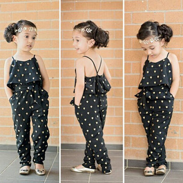 Dot Design Girls Jumpsuits For 2Y-11Y