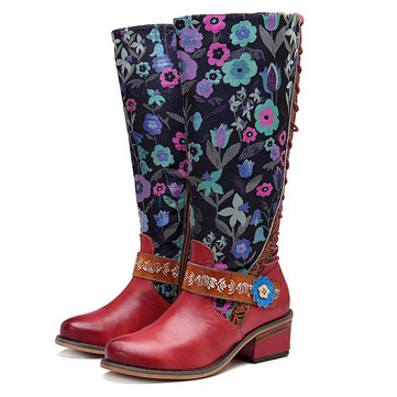 SOCOFY Cowgirl Flower Pattern Genuine Leather Knee Boots