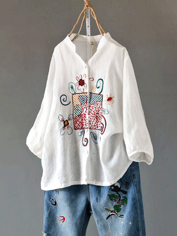 Embroidery Button Long Sleeve Casual Blouse