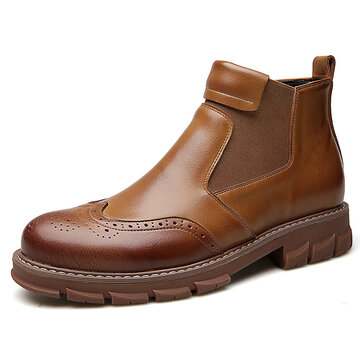 Men Brogue Carved Elastic Slip On Chelsea Boots
