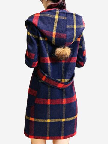 Manteau en laine à carreaux en laine mélangée à capuche