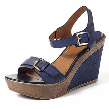 Buckle Strap High Heels Wedges Sandals