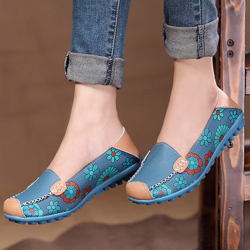 Floral Print Color Matching Soft Comfortable Slip On Flat Sh