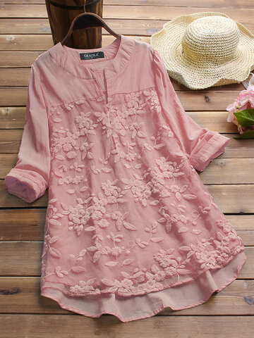 f08ce799b15c6a Floral Embroidered Vintage Blouses