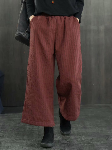 180a727b340d1 Casual Striped Elastic Waist Plus Velvet Wide Leg Pants for Women