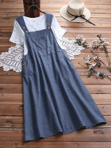 Vintage Wooden Buttons Overall Dress