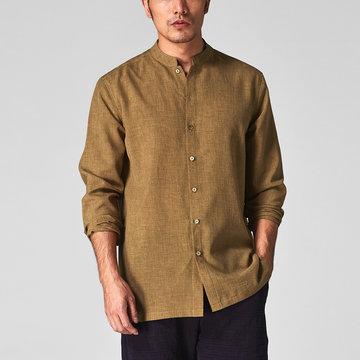 Homens Casual Camisa Algodão Linho