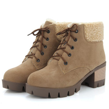 Comfortable Warm Thick Lining Boots, Brown black grey
