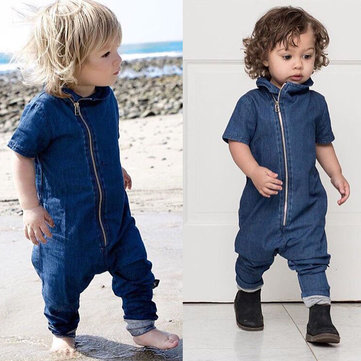 Baby Boy Denim Romper For 0-36M
