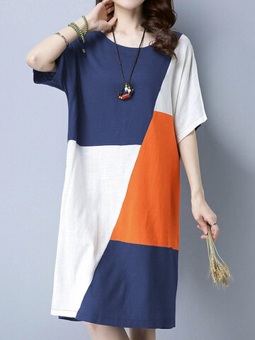 Patchwork Loose Dress For Women