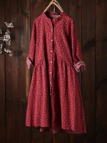 Robe vintage A-ligne à imprimé floral