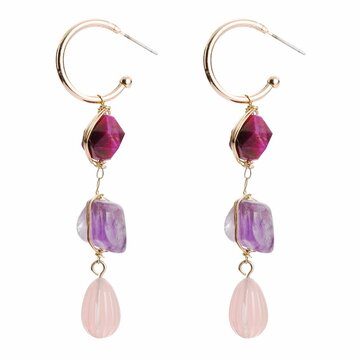 Bohemian  Purple Stone Earrings