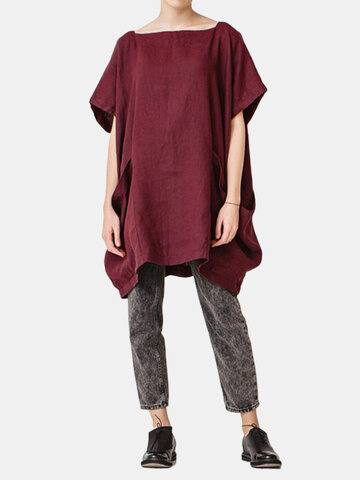 Pockets Solid Color Irregular Blouse