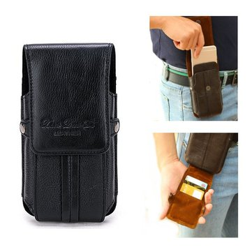 Genuine Leather Portable Stitching Cover Card Holder Phone Waist Bag For Men