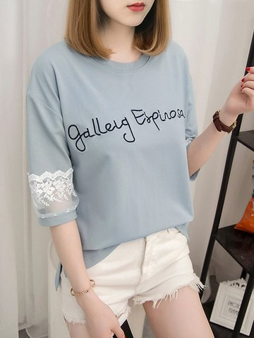 Lace Hollow Out Letter Sweet Top