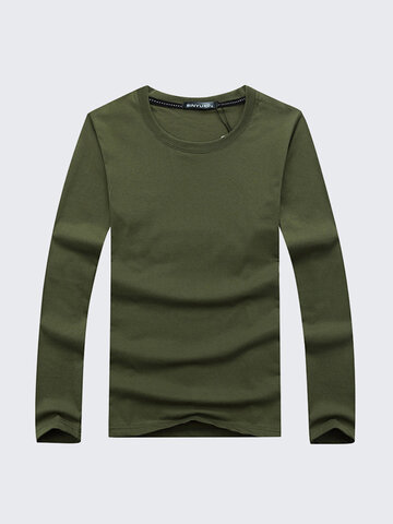 Simple Style Casual Cotton Solid Color O-Neck Long Sleeve Plus Size T-Shirt For Men, White gray black army green dark blue wine red light blue