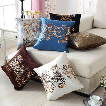 Luxurious Velour Pillow Cover Bronzing Cushion Cover, Coffee white black blue khaki grey