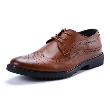 Men Leather Carved Formals Shoes