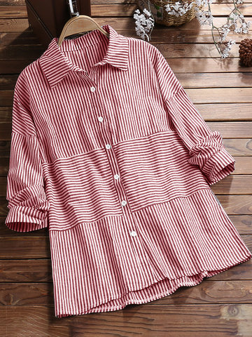 Casual Striped Lapel Shirt