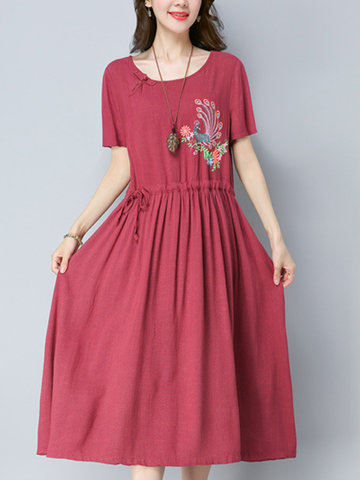 Folk Style Peacock Embroideried Shoty Sleeve O-neck Femme Robes