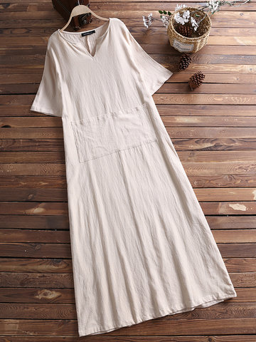 Vintage Solid Color V-neck Dress