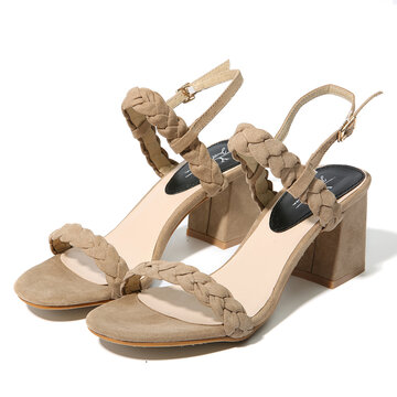 c847d8805776 Suede Knitting Chunky Mid Heel Solid Buckle Strap Sandals