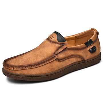 Men Soft Microfiber Leather Slip On Casual Shoes