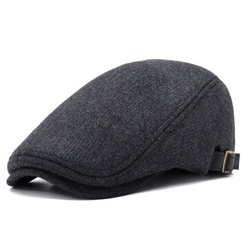 Mens Winter Thicken Warm Woolen Beret Hat a8fdc9a751b6