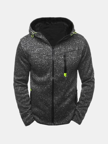 Mens Fashion Casual Solid Thicken Zip Up Hoodie, Black blue grey