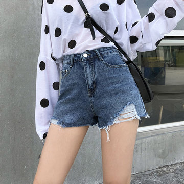 Hole Irregular Loose Denim shorts