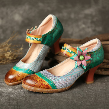 Floral Gancho Loop Leather Pumps