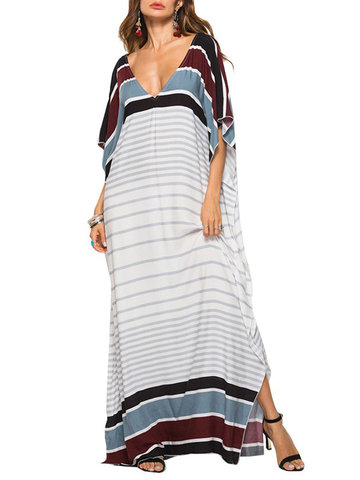 Striped Print Bat Sleeve Floor Length Maxi Dress