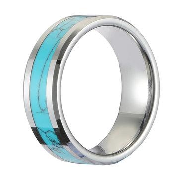 Klassischer 8mm breiter Türkis-Tungsten Ring